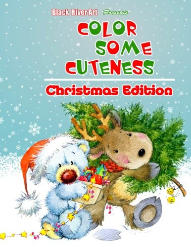 Color Some Cuteness Christmas Edition Grayscale Coloring Book