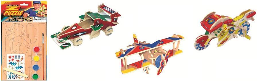 Dřevěná skládačka s obtisky - Motorka - Dřevěné 3D puzzle