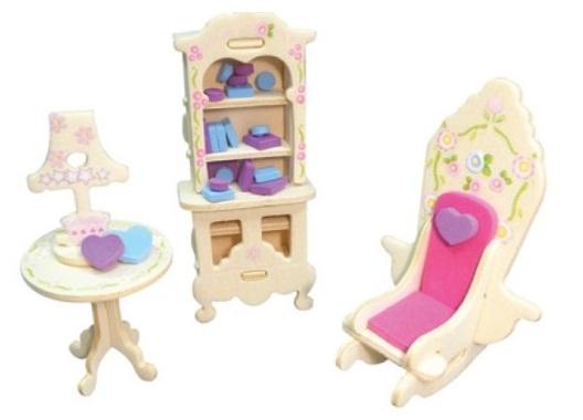 Dřevěná skládačka s obtisky - Zámecký nábytek pro panenky - Barokní knihovna - Dřevěné 3D puzzle