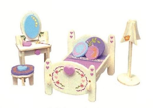 Dřevěná skládačka s obtisky - Nábytek pro panenky - Ložnice s toaletním stolkem - Dřevěné 3D puzzle