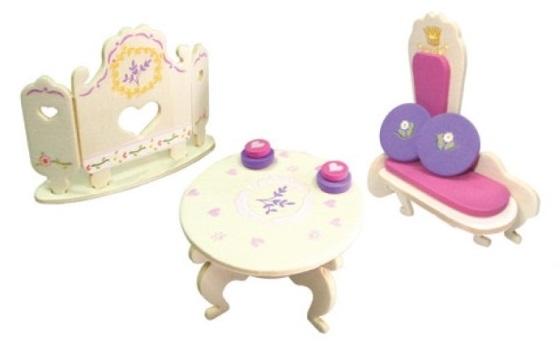 Dřevěná skládačka s obtisky - Zámecký nábytek pro panenky - Rokoková pohovka - Dřevěné 3D puzzle