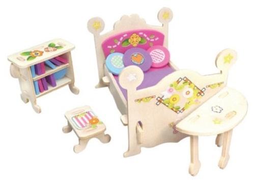 Dřevěná skládačka s obtisky - Zámecký nábytek pro panenky - Renesanční postel s komodou - Dřevěné 3D puzzle