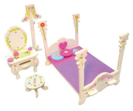 Dřevěná skládačka s obtisky - Zámecký nábytek pro panenky - Barokní postel se zrcadlem - Dřevěné 3D puzzle