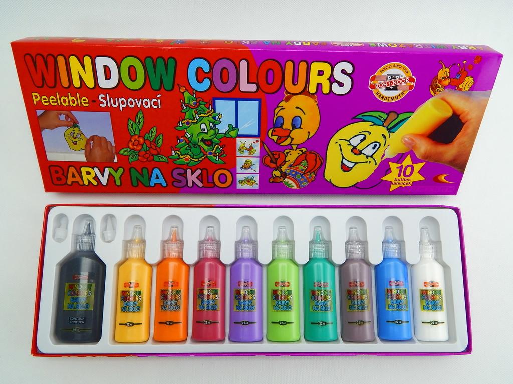 Barvy na sklo - velká sada 10 ks - Koh-I-Noor