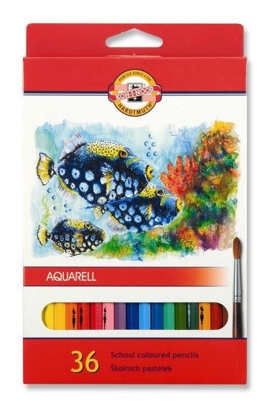 Fotografie Školní akvarelové pastelky 36 ks Koh-I-Noor