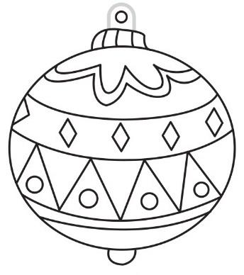 Závěsné sklíčko k vybarvení, šablona s vyvýšenou černou konturou - Vánoční koule (baňka)