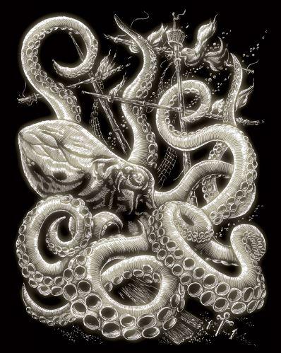 Škrábací obrázek svítící ve tmě - Chobotnice