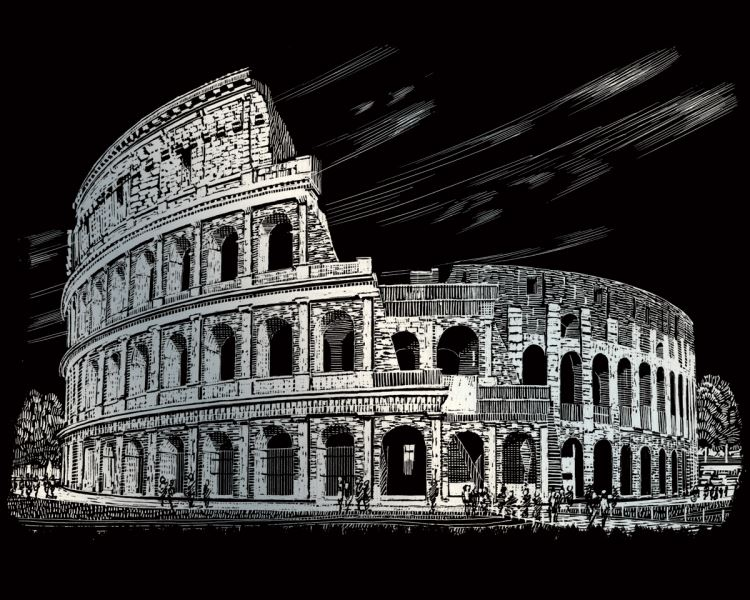 Škrábací obrázek stříbrný - Koloseum