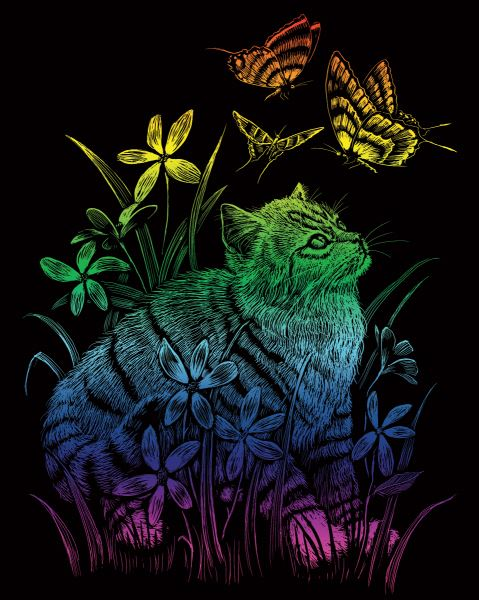 Škrábací obrázek duhový - Kotě a motýli