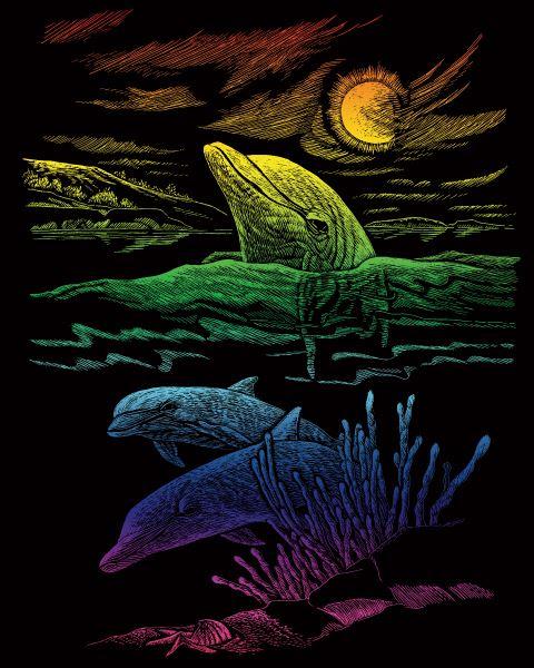 Škrábací obrázek duhový - Delfíni