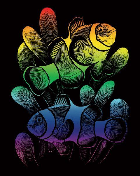 Škrábací obrázek duhový - Ryby - Klauni