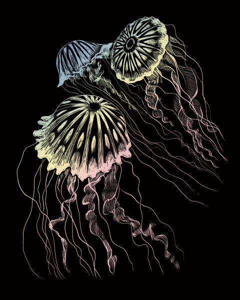 Škrábací obrázek holografický - Medůza