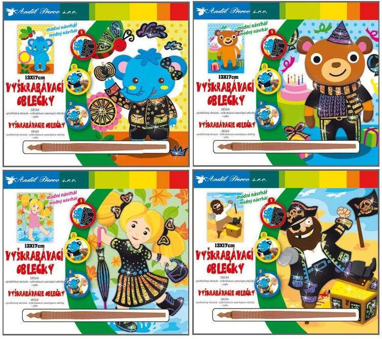 Škrabací obrázek - vyškrabávací oblečky - Slon, medvídek, holčička, pirát