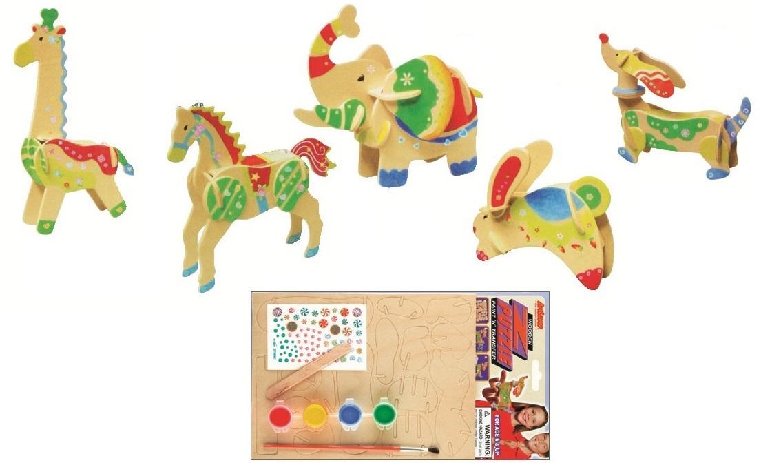 Dřevěná skládačka s obtisky - Zajíc - Dřevěné 3D puzzle