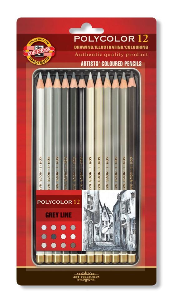 Umělecké pastelky 12 ks Koh-I-Noor Polycolor 3822/12 Šedá řada - Grey Line