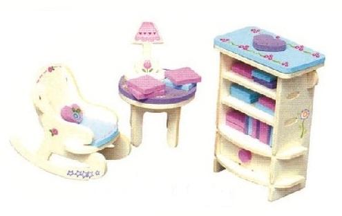 Dřevěná skládačka s obtisky - Nábytek pro panenky - Houpací křeslo a knihovna - Dřevěné 3D puzzle