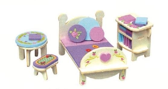 Dřevěná skládačka s obtisky - Nábytek pro panenky - Ložnice s knihovnou - Dřevěné 3D puzzle