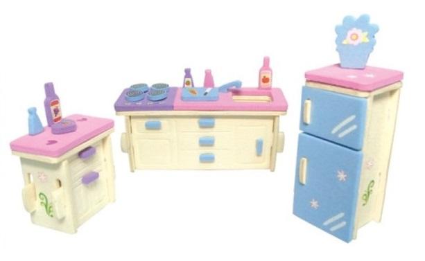 Dřevěná skládačka s obtisky - Nábytek pro panenky - Kuchyň - Dřevěné 3D puzzle
