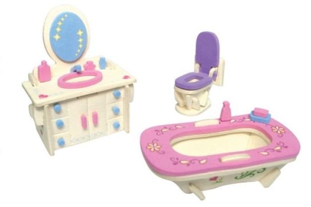 Dřevěná skládačka s obtisky - Nábytek pro panenky - Koupelna - Dřevěné 3D puzzle