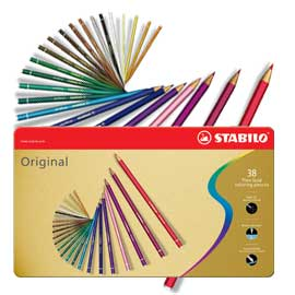 Stabilo Original - tenké barevné pastelky v plechové kazetě - 38 ks
