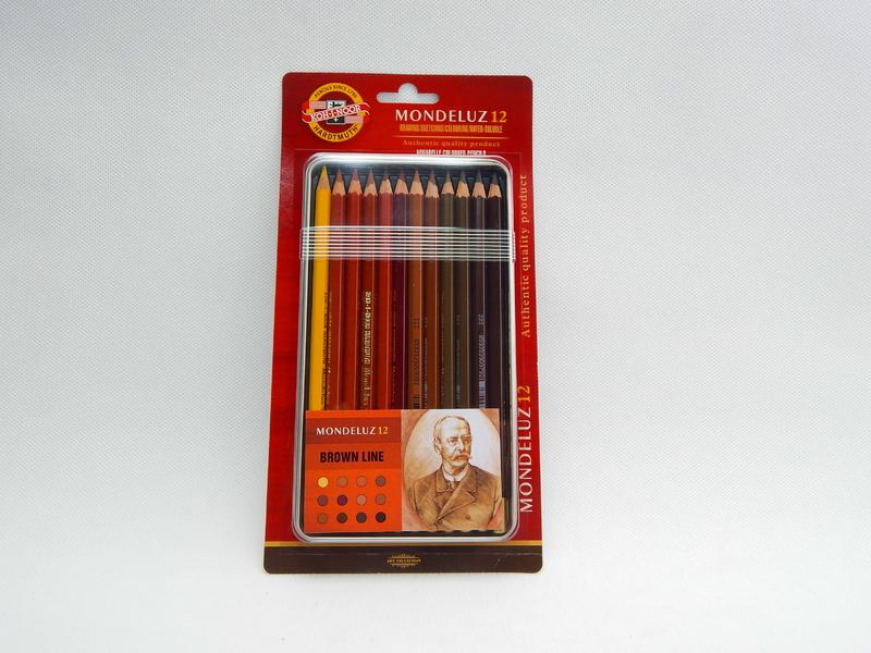 Um. akvarelové pastelky 12 ks Koh-I-Noor Mondeluz 3722 Hnědá řada - Brown line