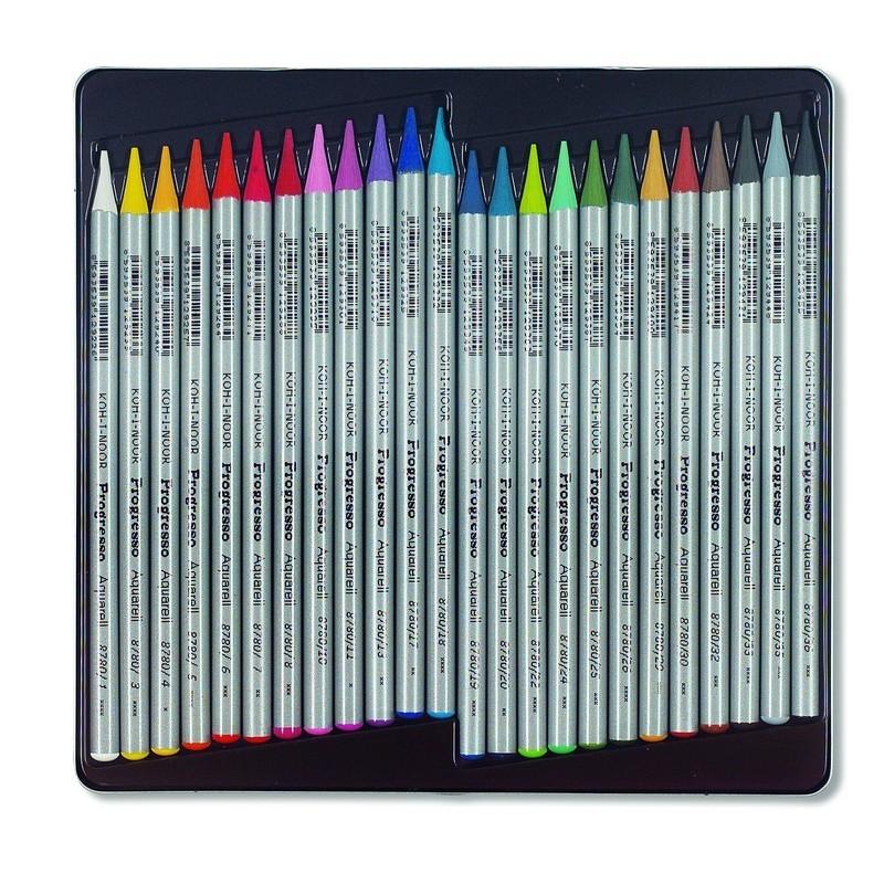 ... ukrývá soupravu 24 ks akvarelových pastelek v laku Progresso. Kresba se  dá štětcem rozmýt a docílit tak kouzelných barevných přechodů. Firma Koh-I- Noor ... 5b52918d5f