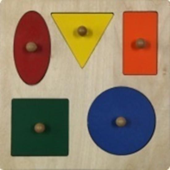 5 geometrických tvarů na desce