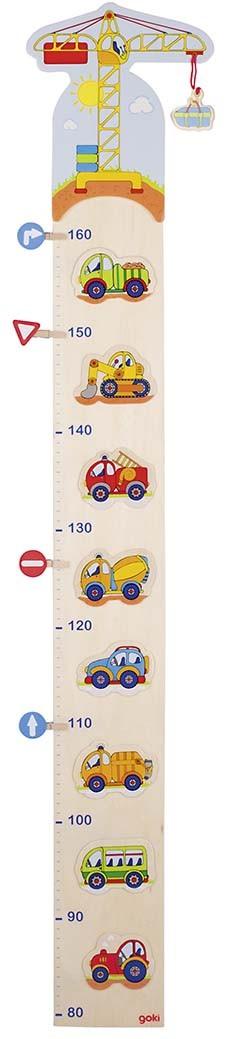 Dětský dřevěný metr – autíčka a značky, 105 cm