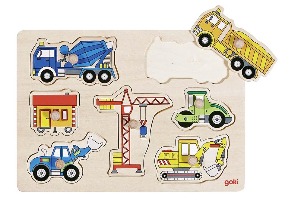 Dřevěné puzzle - Stavební auta