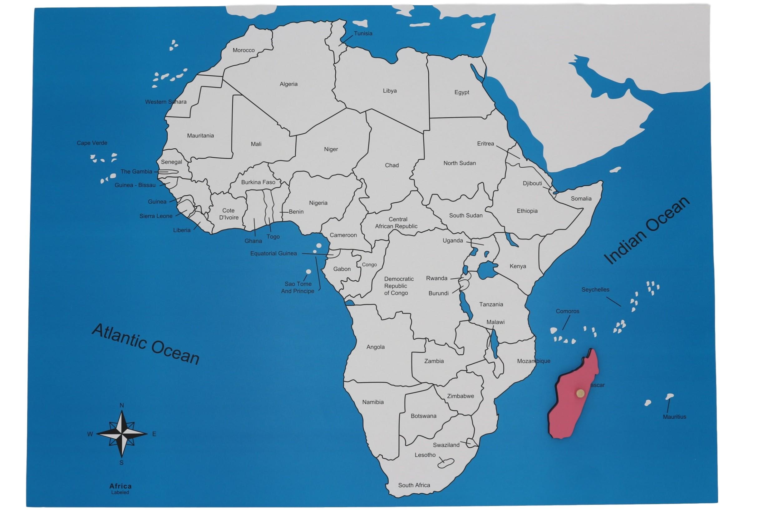 Kontrolní mapa - Afrika Nová - s popisky