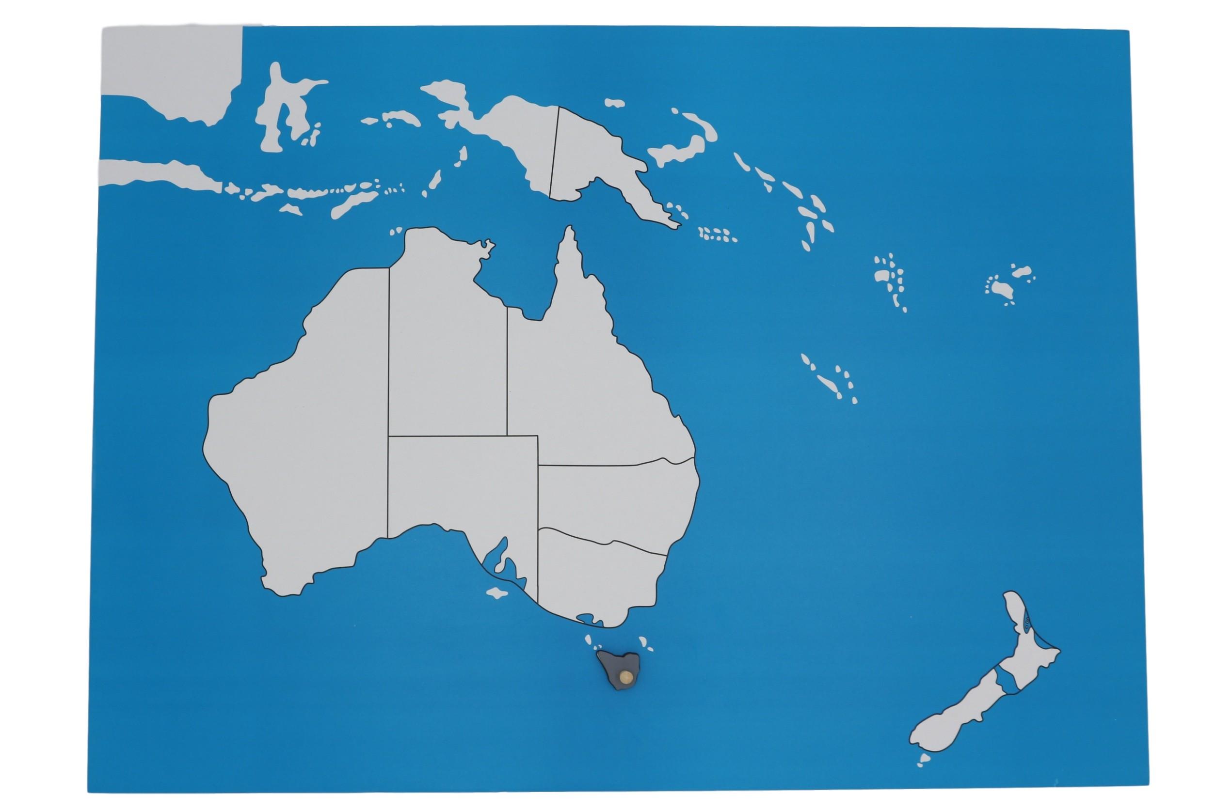 Kontrolní mapa - Australie Nová - bez popisků