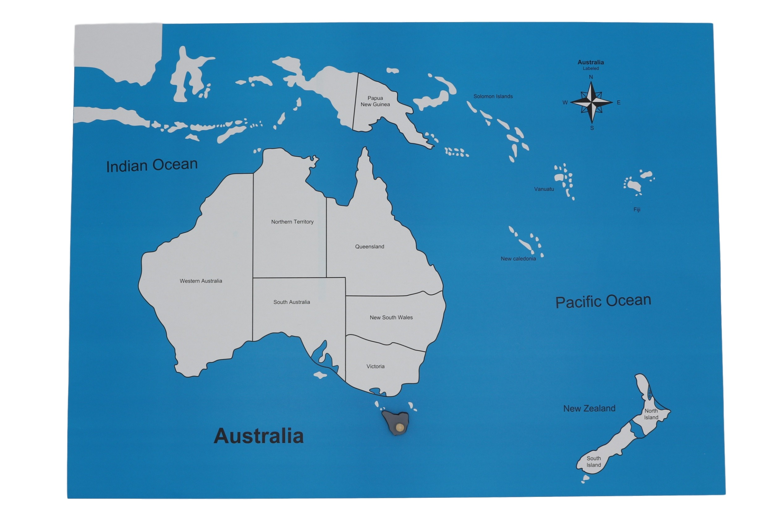 Kontrolní mapa - Australie Nová - s popisky