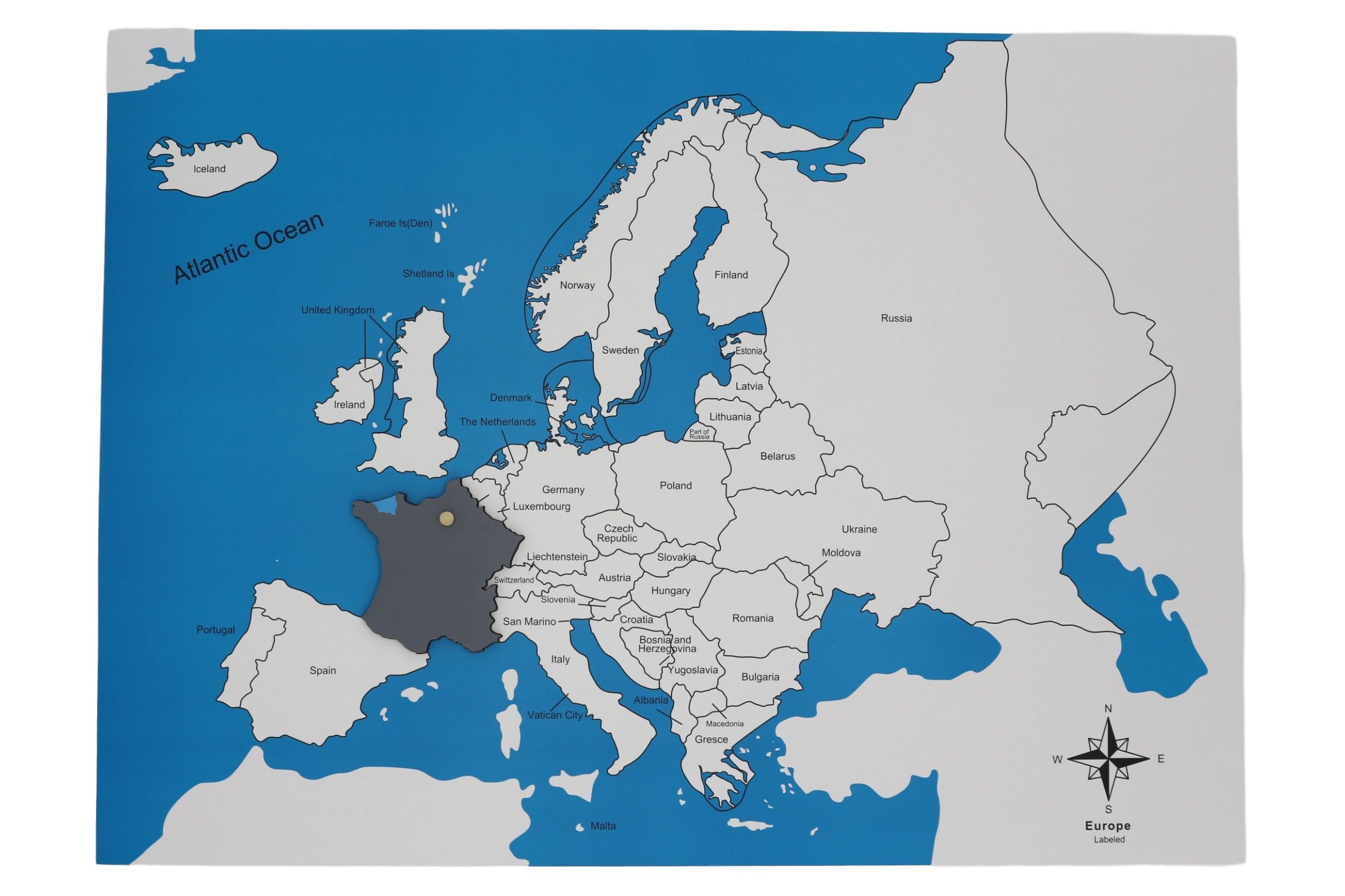 Kontrolní mapa - Evropa Nová - s popisky