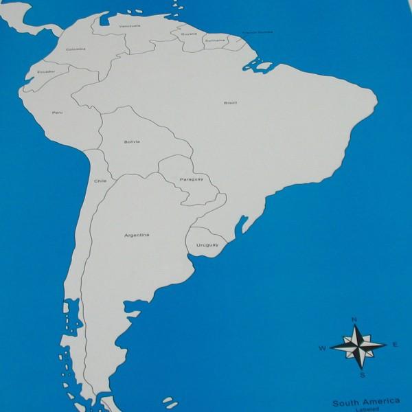 Kontrolní mapa - Jižní Amerika Nová - s popisky