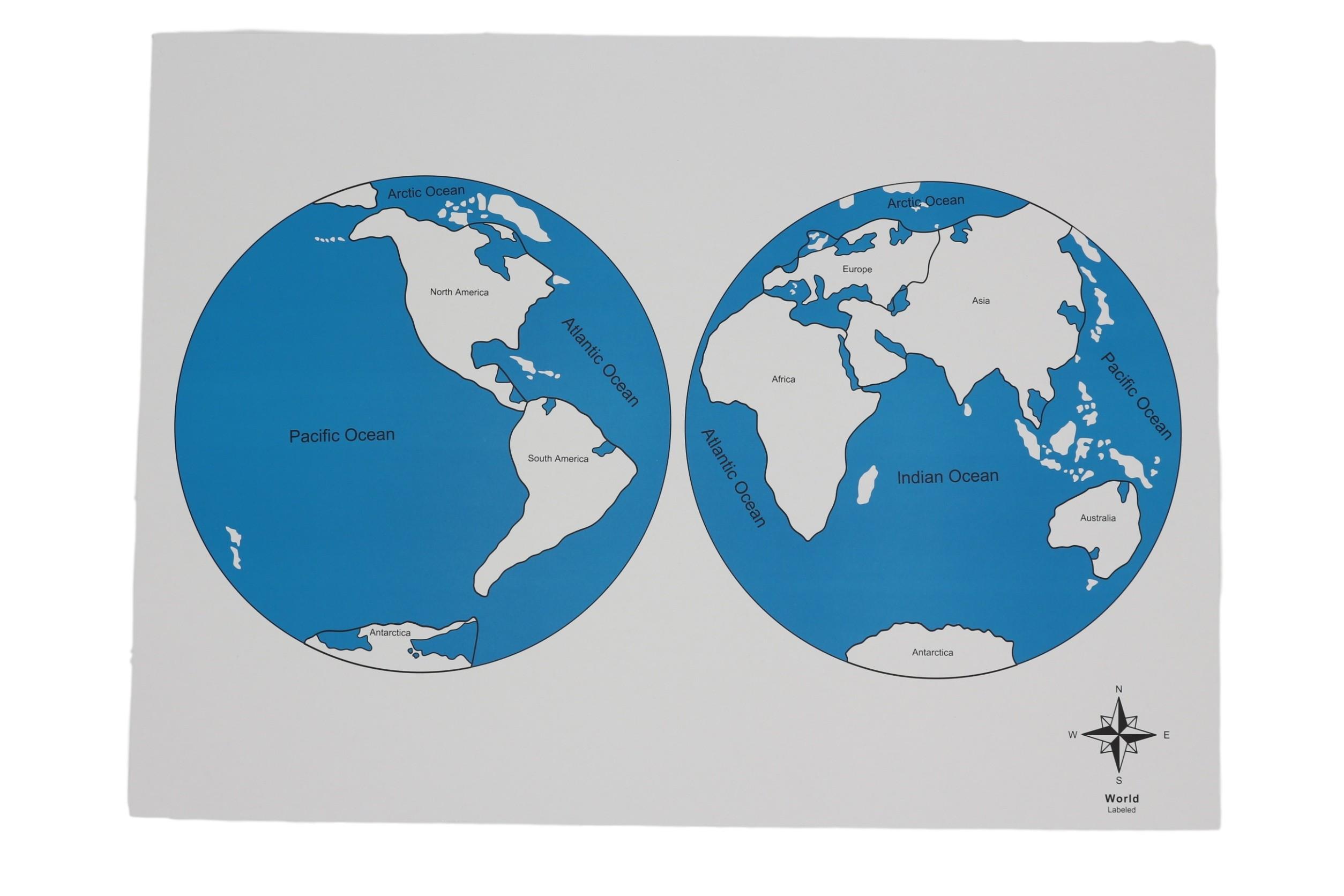 Kontrolní mapa - světa - s popisky