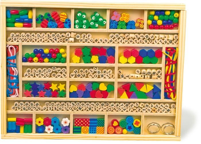 """Navlékací box - perle v dřevěné krabici """"ABC a tvary"""""""
