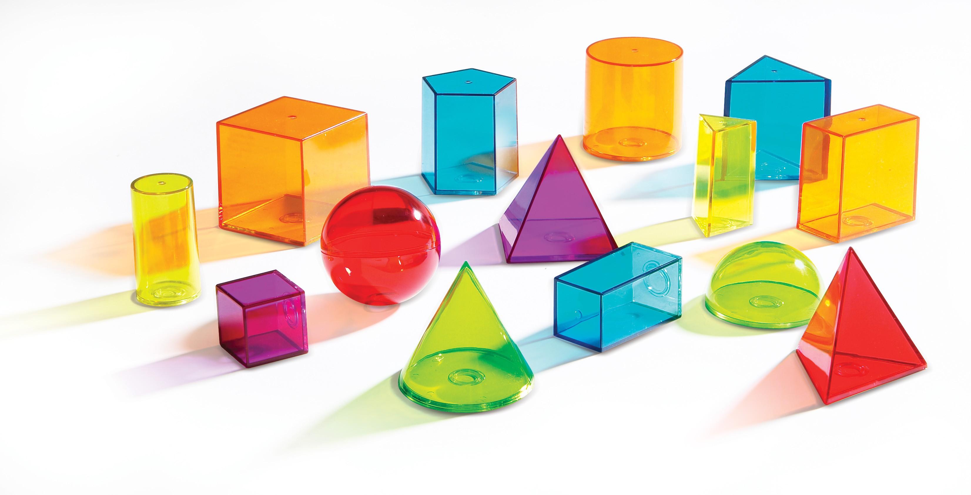 Průhledná barevná geometrická tělesa
