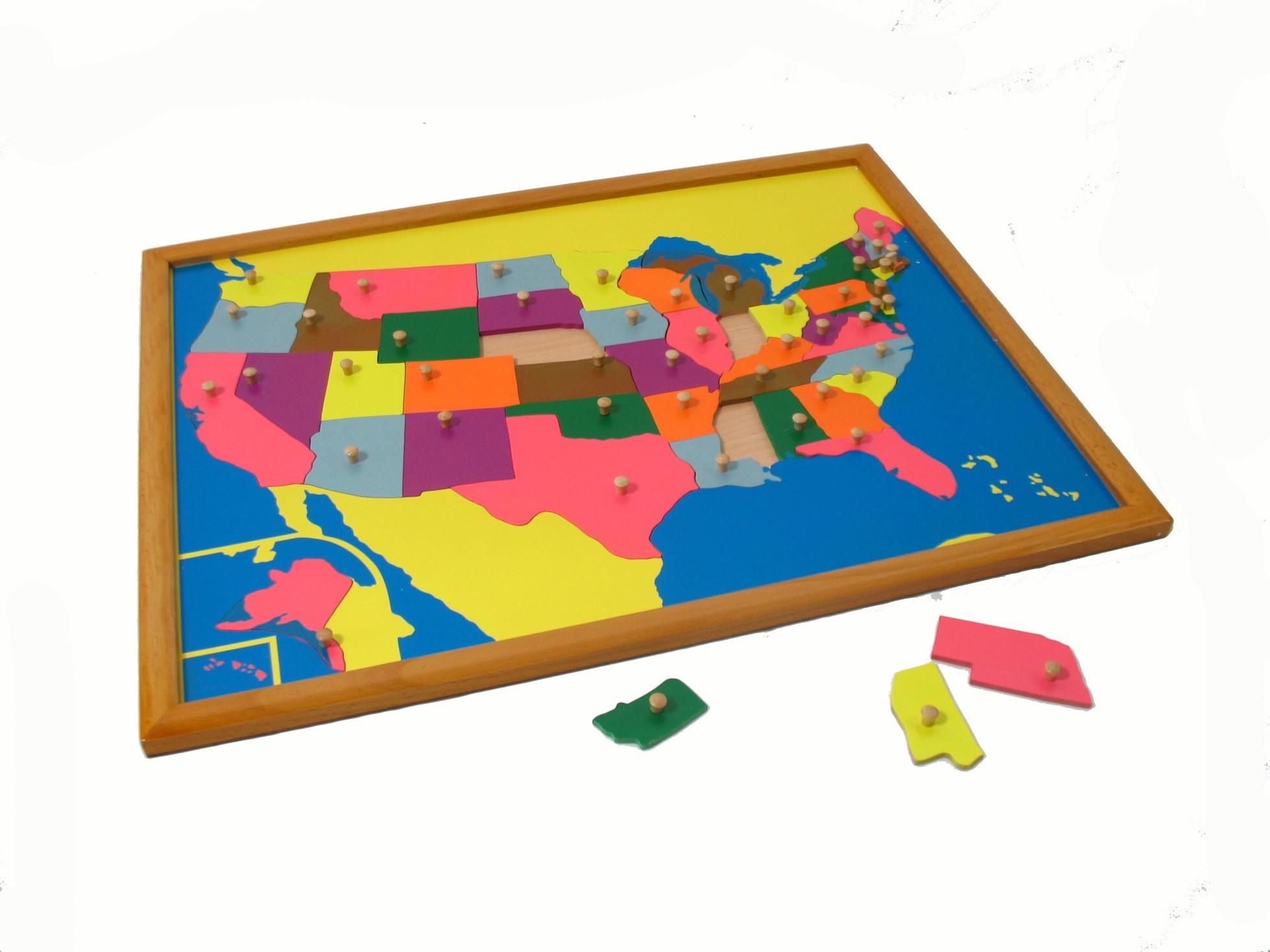 Puzzle - mapa USA - rámeček z bukového dřeva
