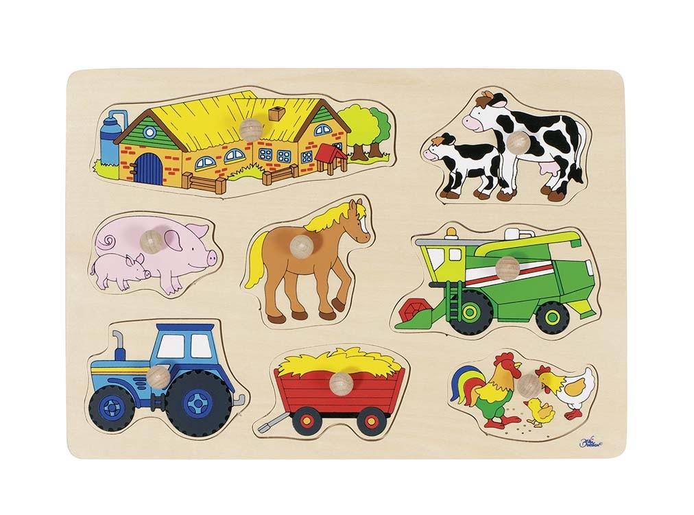 Puzzle s dřevěnými úchytkami – Zvířata na statku