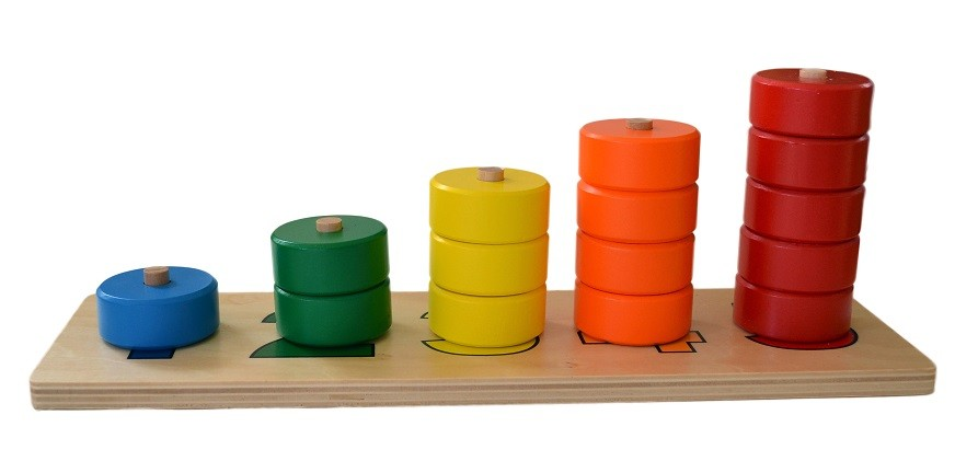 Tyčky s barevnými kruhy na počítání