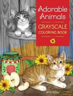 Adorable Animals Grayscale Coloring Book - Jane Maday
