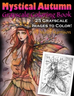 Mystical Autumn Grayscale Coloring Book - Molly Harrison