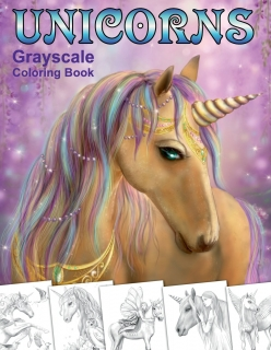Unicorns. Grayscale Coloring Book - Alena Lazareva