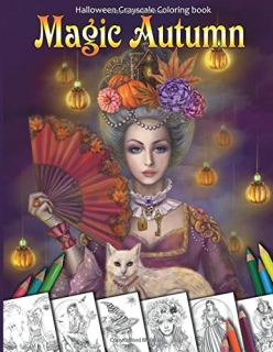Magic Autumn. Halloween Grayscale Coloring Book - Alena Lazareva